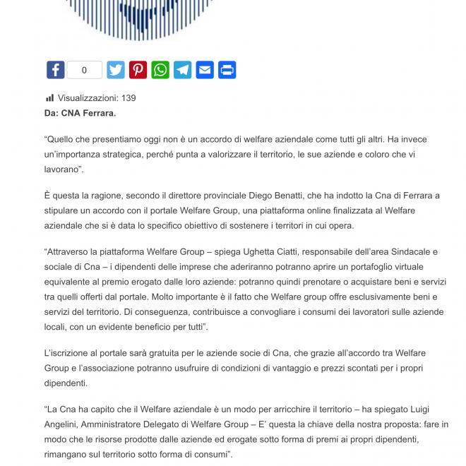 Welfare aziendale accordo innovativo tra Cna Ferrara e Welfare Group - Ferraraitalia it - Quotidiano di Ferrara - l informazione verticale