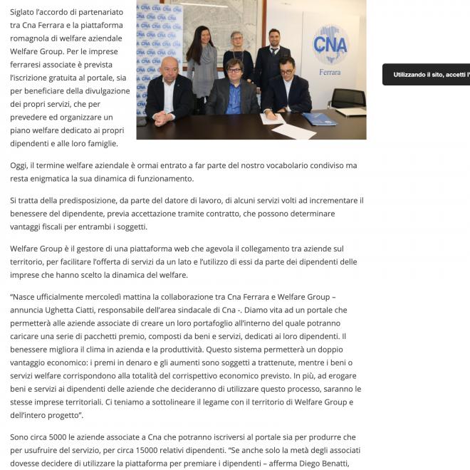 Welfare pacchetti premio per le imprese Cna estense com Ferrara